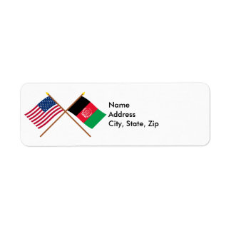 US and Afghanistan Crossed Flags Label