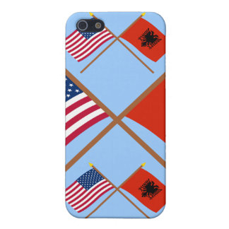 US and Albania Crossed Flags Covers For iPhone 5