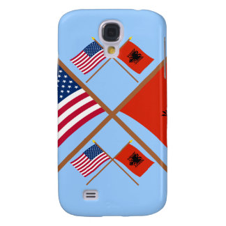 US and Albania Crossed Flags Galaxy S4 Covers
