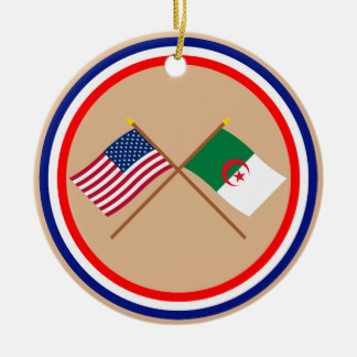 US and Algeria Crossed Flags Christmas Tree Ornaments