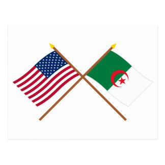 US and Algeria Crossed Flags Postcard
