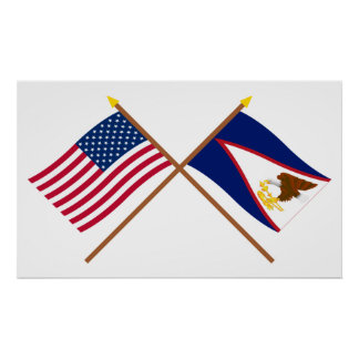 US and American Samoa Crossed Flags Poster