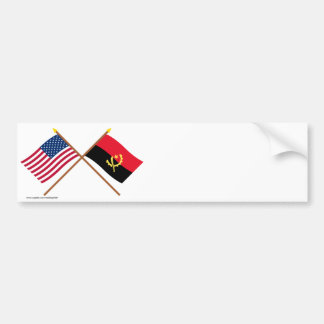 US and Angola Crossed Flags Car Bumper Sticker