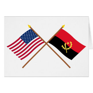 US and Angola Crossed Flags Card