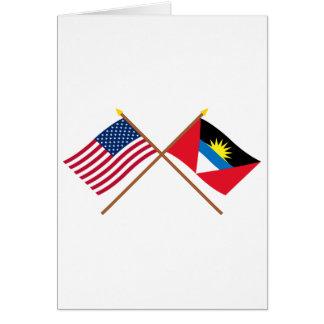 US and Antigua & Barbuda Crossed Flags Card