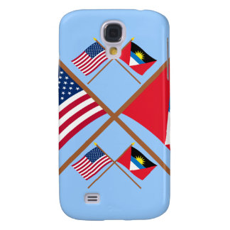 US and Antigua & Barbuda Crossed Flags Samsung Galaxy S4 Covers