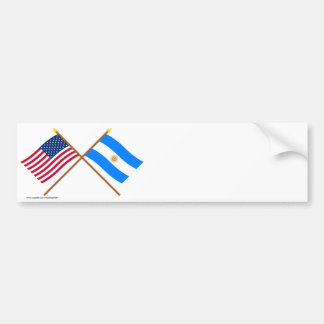 US and Argentina Crossed Flags Car Bumper Sticker
