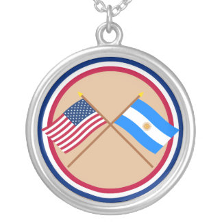 US and Argentina Crossed Flags Custom Necklace