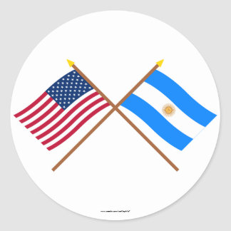 US and Argentina Crossed Flags Classic Round Sticker