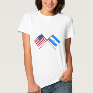 US and Argentina Crossed Flags T-shirt