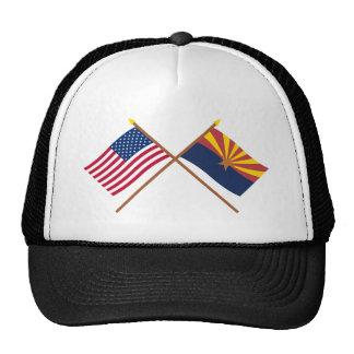 US and Arizona Crossed Flags Trucker Hat