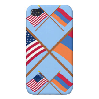 US and Armenia Crossed Flags Cases For iPhone 4