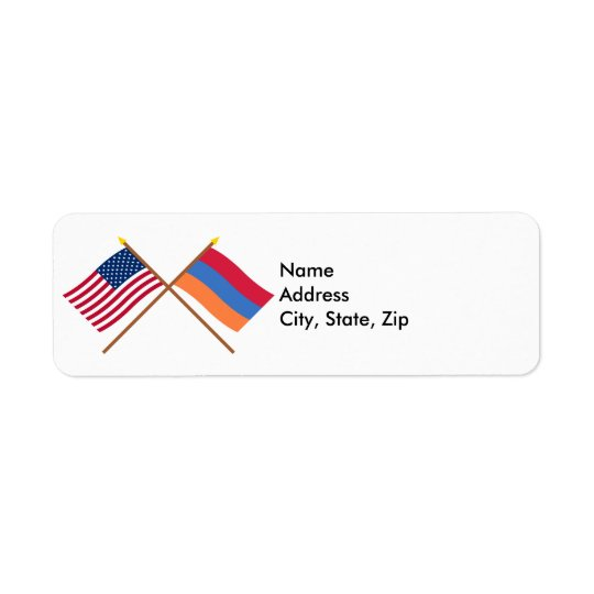 US and Armenia Crossed Flags Label