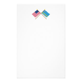 US and Aruba Crossed Flags Stationery