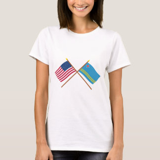 US and Aruba Crossed Flags T-Shirt