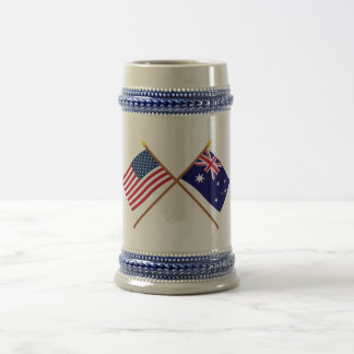 US and Australia Crossed Flags Beer Stein