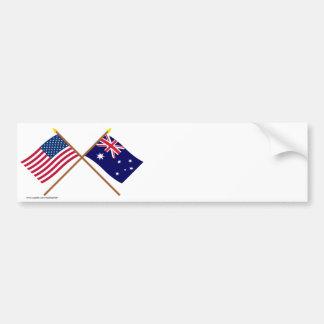 US and Australia Crossed Flags Car Bumper Sticker