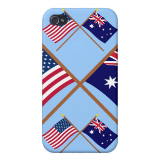 US and Australia Crossed Flags Cases For iPhone 4