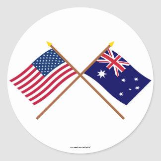 US and Australia Crossed Flags Classic Round Sticker