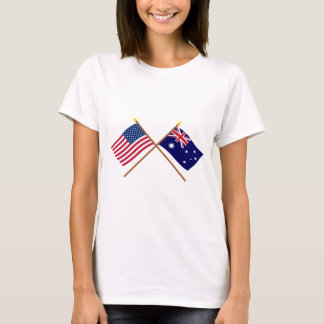 US and Australia Crossed Flags T-Shirt