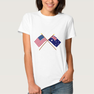 US and Australia Crossed Flags T-shirts