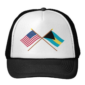 US and Bahamas Crossed Flags Trucker Hat