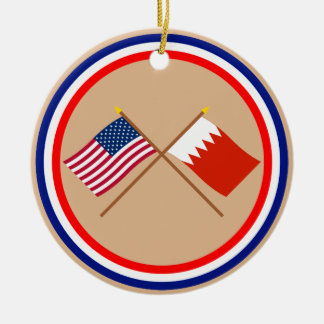 US and Bahrain Crossed Flags Christmas Ornaments