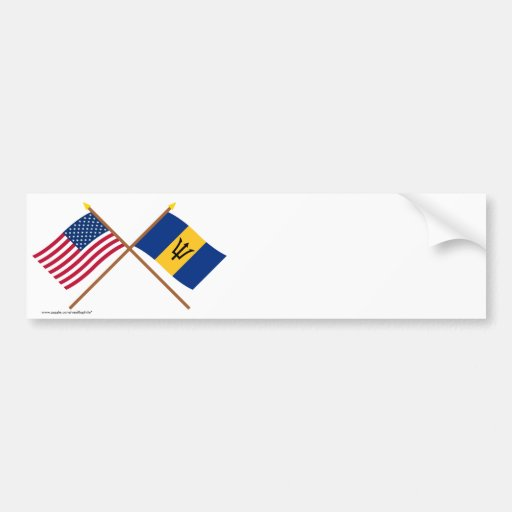 US and Barbados Crossed Flags Bumper Stickers