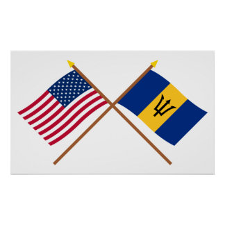 US and Barbados Crossed Flags Poster