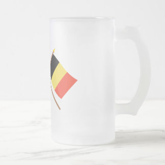 US and Belgium Crossed Flags Frosted Glass Beer Mug