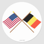 US and Belgium Crossed Flags Round Stickers