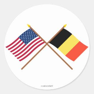 US and Belgium Crossed Flags Classic Round Sticker