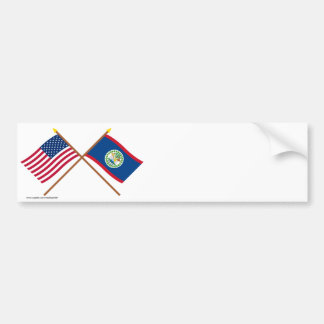 US and Belize Crossed Flags Bumper Sticker