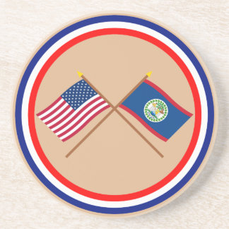 US and Belize Crossed Flags Drink Coaster