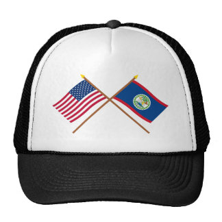 US and Belize Crossed Flags Trucker Hat