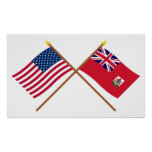 US and Bermuda Crossed Flags Posters