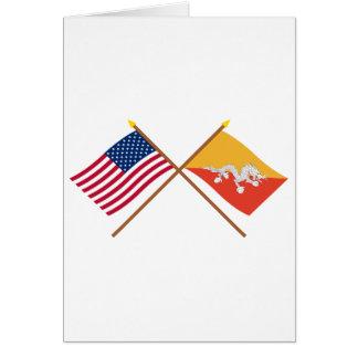 US and Bhutan Crossed Flags Card