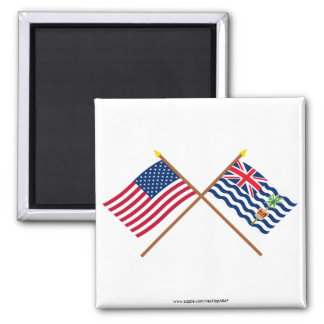 US and BIOT Crossed Flags 2 Inch Square Magnet