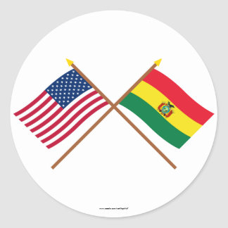 US and Bolivia Crossed Flags Classic Round Sticker