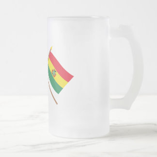 US and Bolivia Crossed Flags Frosted Glass Beer Mug