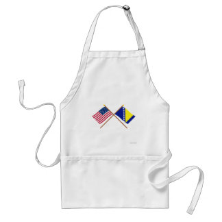US and Bosnia & Herzegovina Crossed Flags Adult Apron