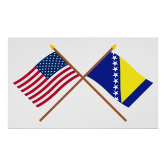 US and Bosnia & Herzegovina Crossed Flags Poster