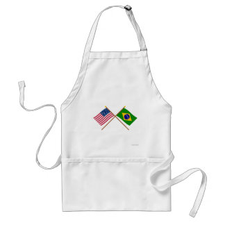 US and Brazil Crossed Flags Adult Apron