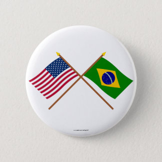 US and Brazil Crossed Flags Button