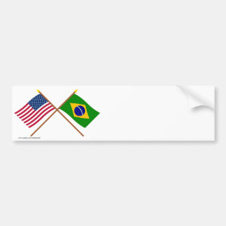 US and Brazil Crossed Flags Car Bumper Sticker