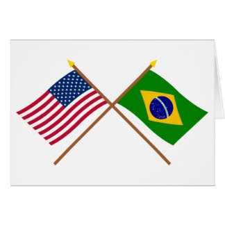 US and Brazil Crossed Flags Greeting Cards