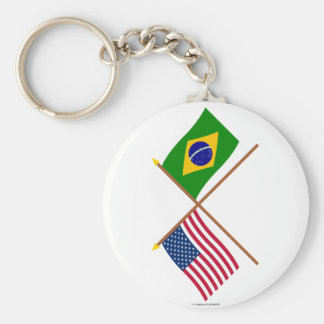 US and Brazil Crossed Flags Keychain