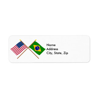 US and Brazil Crossed Flags Label