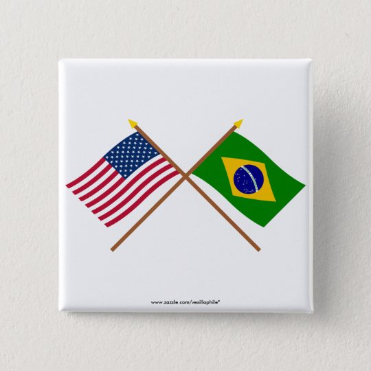 US and Brazil Crossed Flags Pinback Button