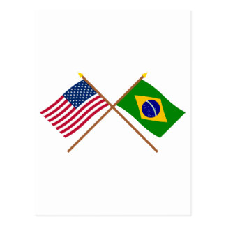 US and Brazil Crossed Flags Postcard